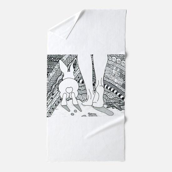 Rabbit Beyond the Rainbow Bridge Beach Towel