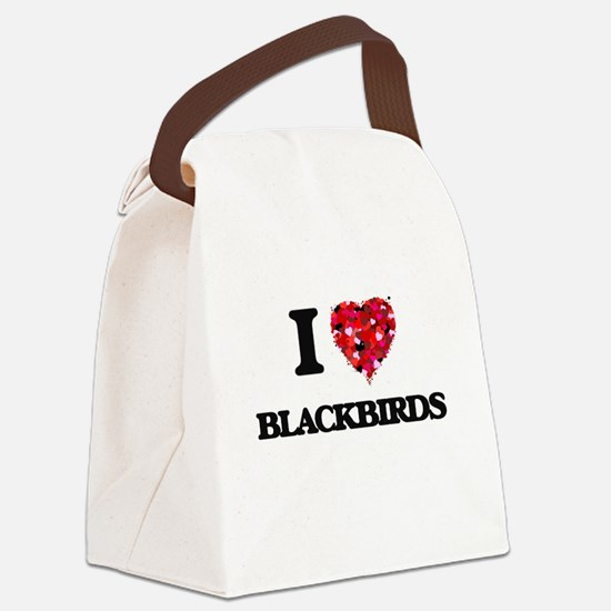 I Love Blackbirds Canvas Lunch Bag