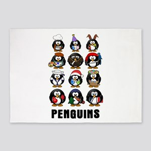 Penguins 5'x7'Area Rug