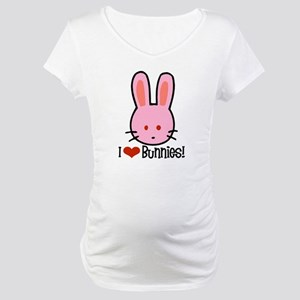 I Love Bunnies Maternity T-Shirt