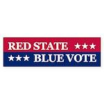 RED STATE BLUE VOTE Bumper Sticker