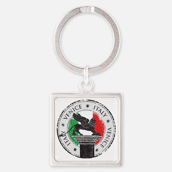 Venice Italy Stamp Square Keychain