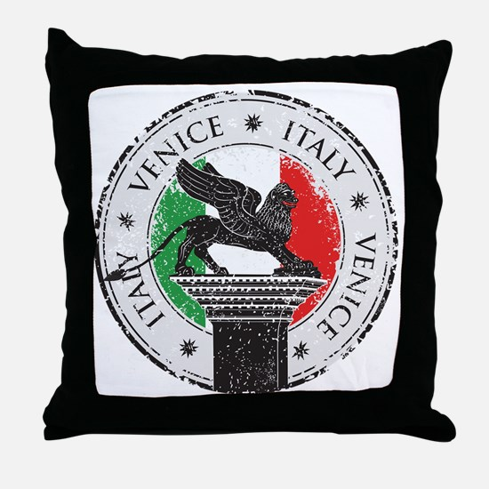 Venice Italy Stamp Throw Pillow