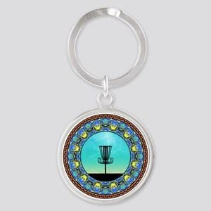 Disc Golf Abstract Basket 5 Keychains