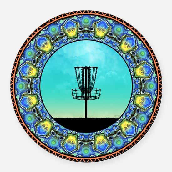 Disc Golf Abstract Basket 5 Round Car Magnet