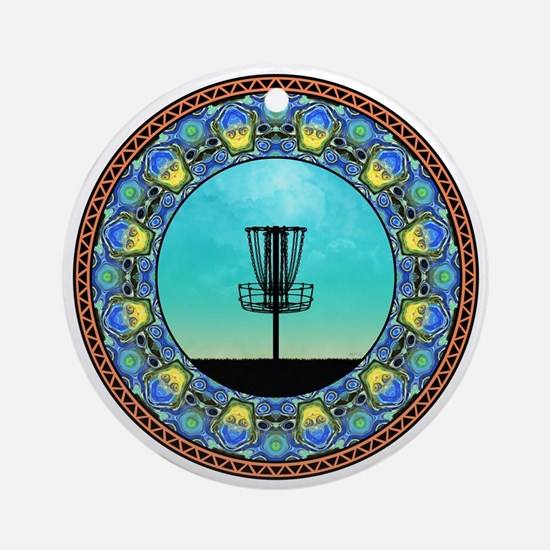 Disc Golf Abstract Basket 5 Ornament (Round)