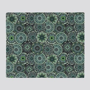 Green Paisley Circles Throw Blanket