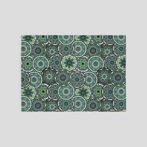 Green Paisley Circles 5'x7'Area Rug