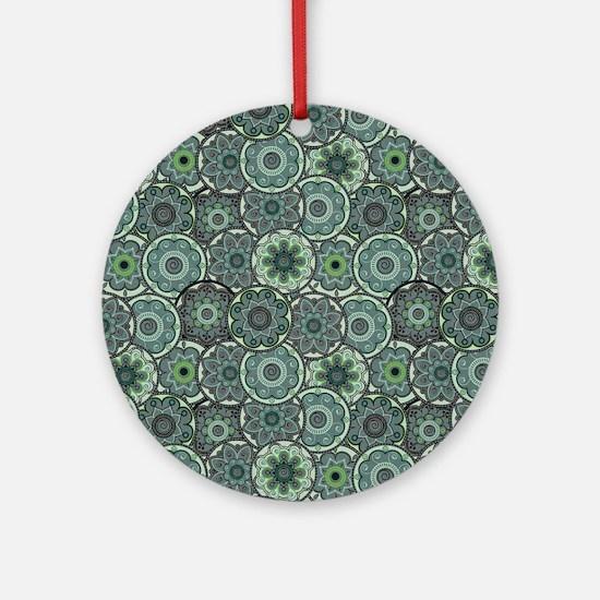 Green Paisley Circles Ornament (Round)