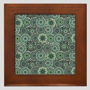 Green Paisley Circles Framed Tile