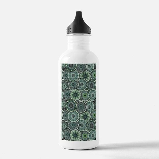 Green Paisley Circles Water Bottle