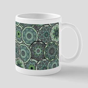 Green Paisley Circles Mugs