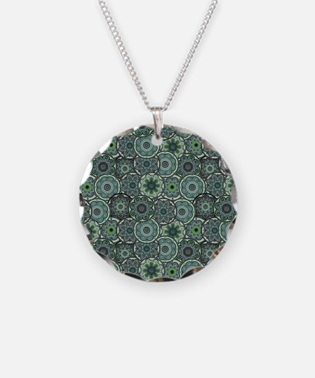 Green Paisley Circles Necklace