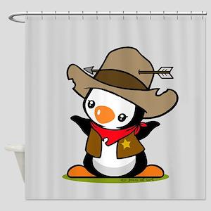 Cowboy Popo Penguin Shower Curtain