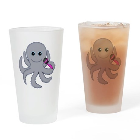 Singing Octopus Pink Microphone Drinking Glass
