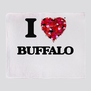 I Love Buffalo Throw Blanket