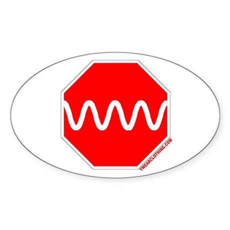 Stop Sine Oval Sticker
