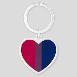 Vintage Bisexual Pride Heart Keychain