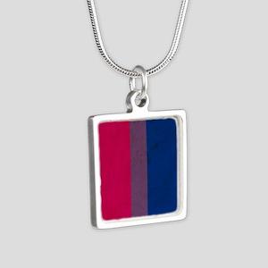 Vintage Bisexual Pride Silver Square Necklace