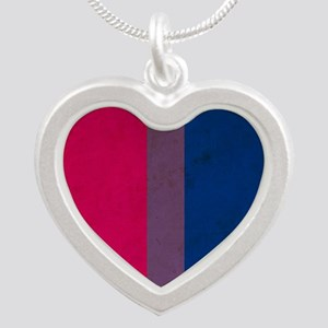 Vintage Bisexual Pride Silver Heart Necklace