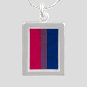 Vintage Bisexual Pride Silver Portrait Necklace