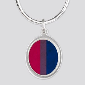 Vintage Bisexual Pride Silver Oval Necklace