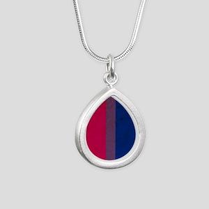 Vintage Bisexual Pride Silver Teardrop Necklace