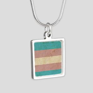 Vintage Transgender Pride Silver Square Necklace