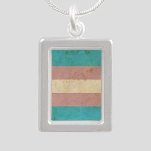 Vintage Transgender Prid Silver Portrait Necklace