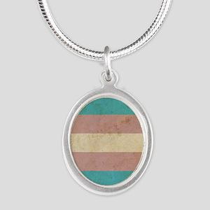 Vintage Transgender Pride Silver Oval Necklace