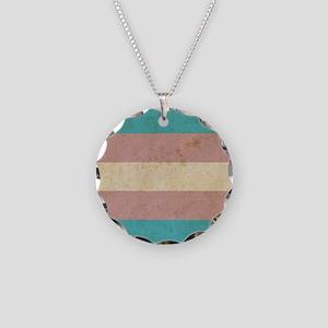 Vintage Transgender Pride Necklace Circle Charm