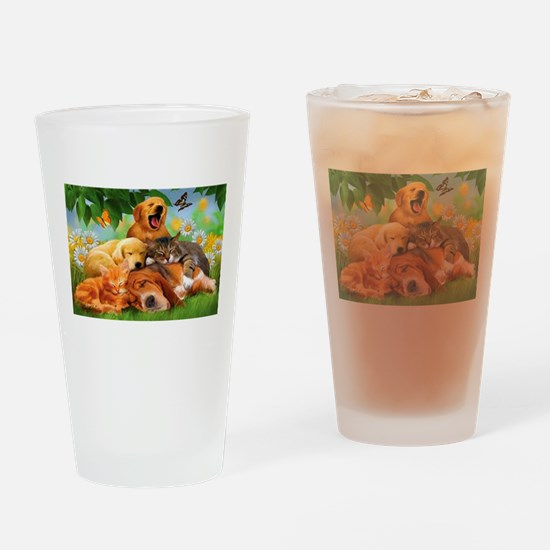 Cute Dogs and cats Drinking Glass