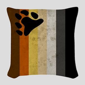 Vintage Bear Pride Flag Woven Throw Pillow