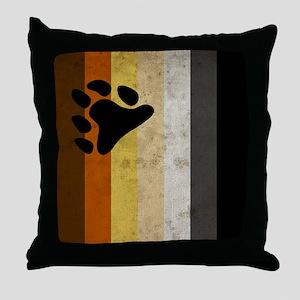 Vintage Bear Pride Flag Throw Pillow