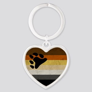 Vintage Bear Pride Flag Heart Keychain