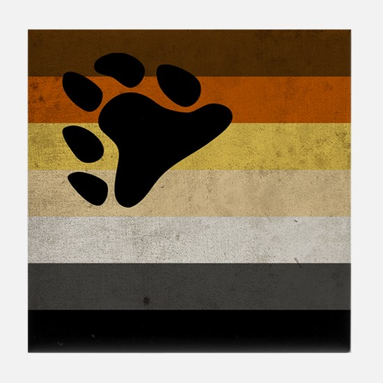 Vintage Bear Pride Flag Tile Coaster