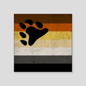 "Vintage Bear Pride Flag Square Sticker 3"" x 3"""