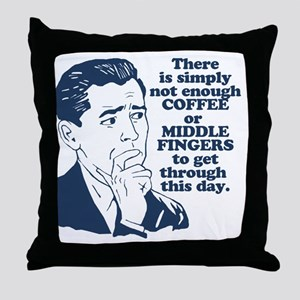 Coffee And The Middle Finger Throw Pillow