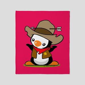 Cowboy Penguin Throw Blanket