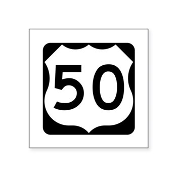 "Us Route 50 Square Sticker 3"" X 3"""