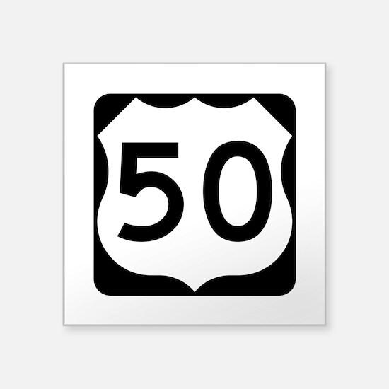 """Us Route 50 Square Sticker 3"""" X 3"""""""