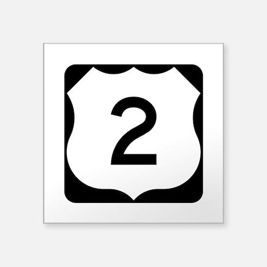 """Us Route 2 Square Sticker 3"""" X 3"""""""