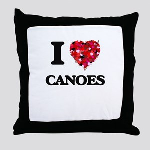 I love Canoes Throw Pillow