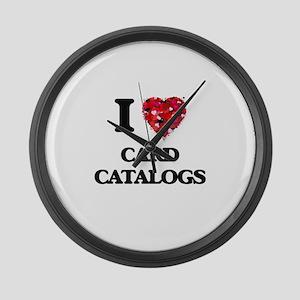 I love Card Catalogs Large Wall Clock