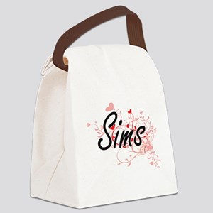 Sims Artistic Design with Hearts Canvas Lunch Bag