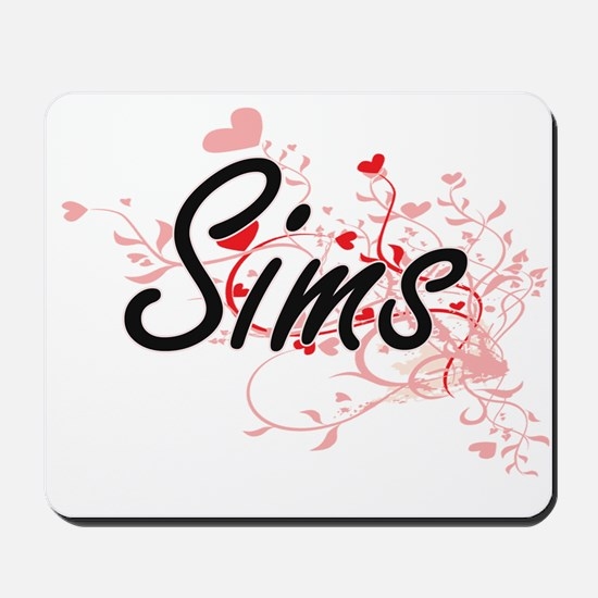 Sims Artistic Design with Hearts Mousepad