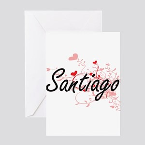 Santiago Artistic Design with Heart Greeting Cards
