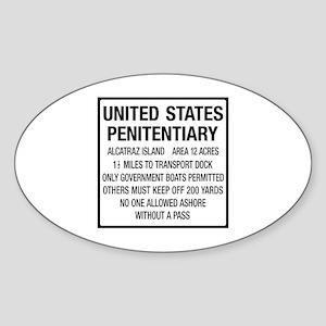 Alcatraz Island, Entrance Sign, USA Sticker (Oval)