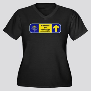 Camino de Sa Women's Plus Size V-Neck Dark T-Shirt
