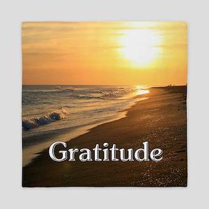 Gratitude Sunset Beach Queen Duvet